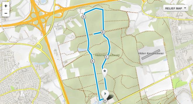 Strecke Winterlaufserie Hilden