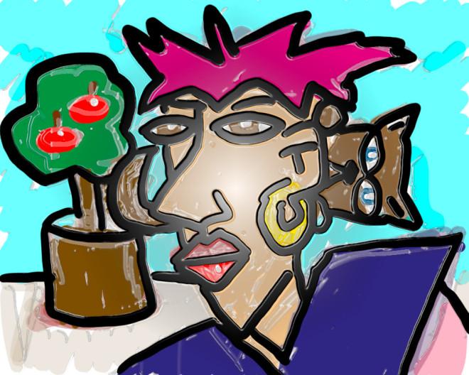 Mutmaßliche Frau mit Spionkatze und Fruchtbaum