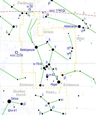 Orion-Sternkarte